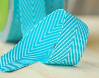 """Chevron Stripe Ribbon in Turquoise and White Stripe 5 Yards of 3/4"""" Ribbon by May Arts"""