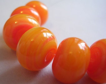 Lampwork Beads Orange Glass Handmade Ericabeads Orange Marmalade 2 (6)