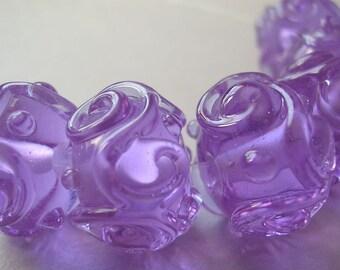 Glass Handmade Purple Violet Lampwork Beads Ericabeads Dark Lavender Scrolled Sparklies (6)