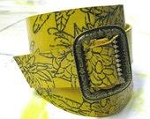Gwyneth Leather Wrist Wrap Cuff - Yellow Floral - Antique Brass Buckle