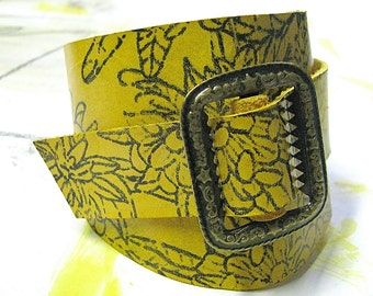 Yellow Leather Wrap around Bracelet Cuff for Women - Chrysanthemum Flower - Antique Brass Buckle