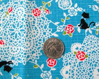 Lace Doilies  & Kitties Japanese Fabric 1FQ