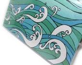 Couverture - vagues de l'océan - vinyle porte chéquier porte chéquier - Hokusai a inspiré vague design check couverture du livre - choisir côté ou déchirure supérieure