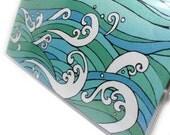 Checkbook Cover - Ocean Waves - vinyl checkbook holder - Hokusai inspired wave design check book cover - choose side or top tear