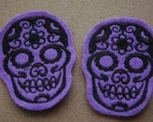 Day of the Dead Skull Patch Set Purple Pixiefashions (custom colors, great for sweaters)