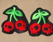 Cherry Skull Felt Patch Set Cardigan Sweater Rockabilly