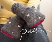 PATTERN - Knit Hippopotamus Mittens Digital Download - PDF File - Adult Sizes - Animal Hand Puppets - Knitting - Grey