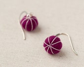 SALE 30% OFF - Felt Ball Earrings - Fuschia Pink - Stitched Putka Pods - Lightweight Accessory