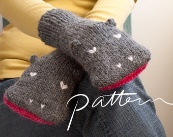 PATTERN - Knit Hippopotamus Mittens Digital Download - PDF File - Adult Sizes - Child Sizes - Animal Hand Puppets - Knitting - Grey