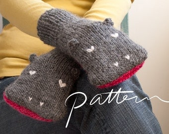 PATTERN - Knit Hippopotamus Mittens Digital Download - PDF File - Adult Sizes - Animal Hand Puppets - Knitting - Grey