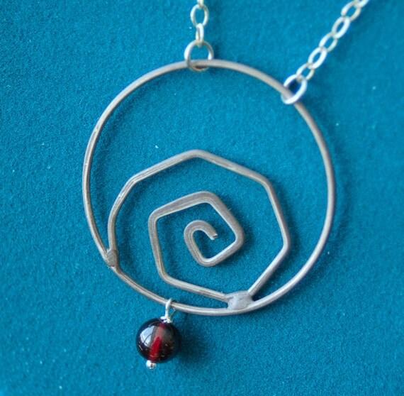 Sterling Swirl w/ Garnet Necklace