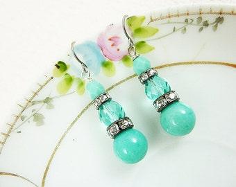 Aqua Earrings, Glass Dangle Earrings, Rhinestone Earrings, Romantic Vintage Earrings, Aqua Glam Dangles