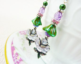Purple Flower Earrings, Flower Dangle Earrings, Rhinestone Flower Earrings, Czech Glass, Vintage Style Earrings, Handmade By KreatedByKelly