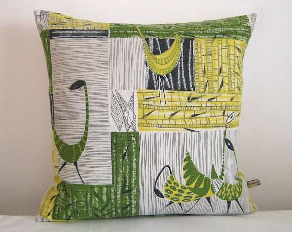 Vintage Fabric Cushion Cover Mid Century Modern Pillow BIRDS