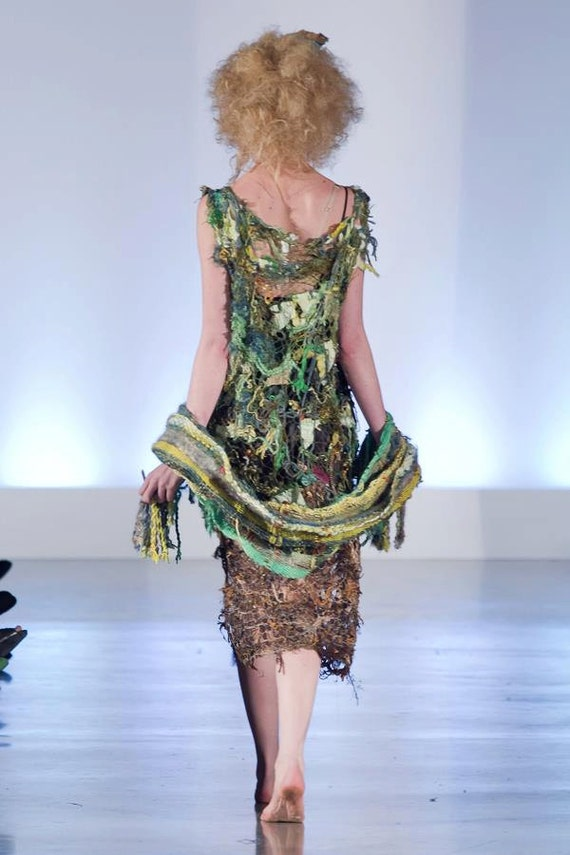 Tree Eleganza Dress in green fading to brown at the bottom