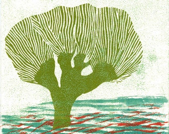 Lino Print - HOLLAND LANDSCAPE 21 - Willow Tree Print 6x6 - Ready to Ship