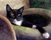 ACEO ATC Good at This Tuxedo Cat Mini Watercolor Print DelPesco