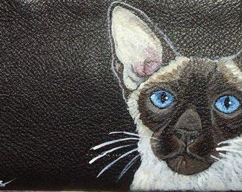 Siamese Cat Custom Hand Painted Women's Ladies' Leather Wallet Vegan