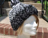 Price Reduced!! Shades of Gray Skullcap with Big Fluffy Pom Pom - Women's Crochet Hat with Pom Pom - Crochet beanie hat