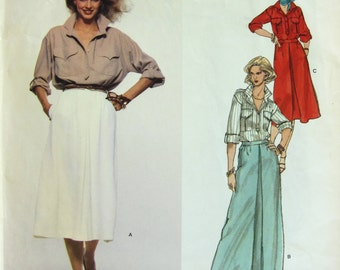 70s Vogue 1687 Christian Aujard - French Boutique - Skirt & Shirt - Vintage Sewing Pattern - Size 10