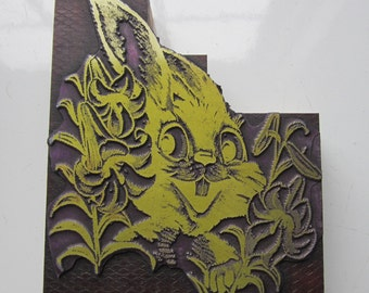 Large Easter Bunny Vintage Letterpress Printers Block Rabbit with Lilies