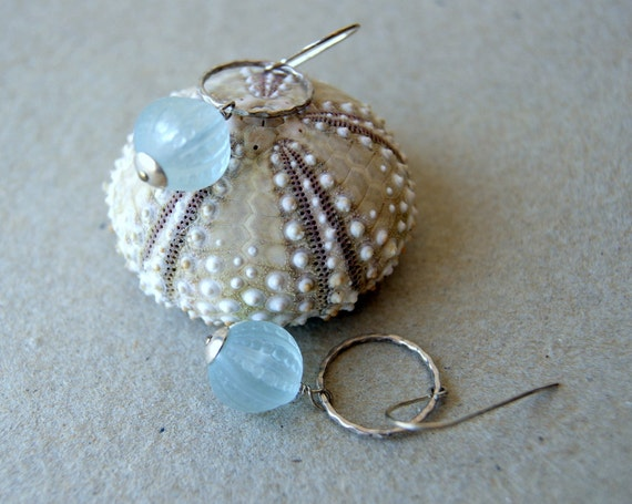 Sea Urchin Earrings - vintage Lucite beads - pale icy blue - nautical jewelry - gift under 25