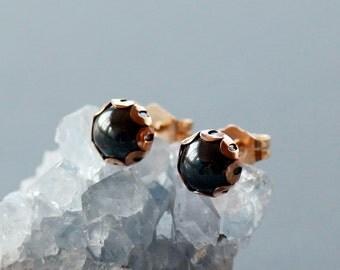Hematite Stud Earrings, 14k Gold Filled Post, Black Gemstone Jewelry, 6mm Gem in Scalloped Setting, Everyday Earrings, Modern Gem Studs
