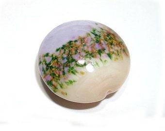 Handmade Glass Lampwork Bead Lavender & Shell Pink  Jumbo Lentil