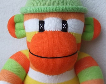 Citrus Stripe Sock Monkey (Made to Order)