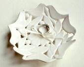 Kissing Love Birds, Wedding Ring Pillow Alternative, Hand carved ceramic Ring Dish, Ring Bowl, Ready to Ship