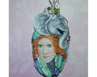 Elephant and Goddess Good Luck Handmade Pendant