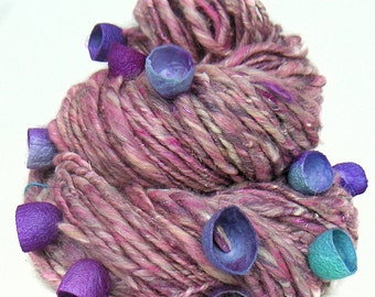 Handspun Art Yarn handcarded sparkly Merino wool cotton bamboo kidmohair alpaca and silk cocoons