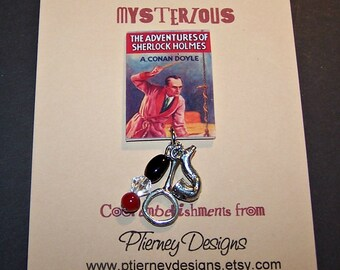 "SHERLOCK HOLMES ""Adventures"" Book Cover Charm Pin"