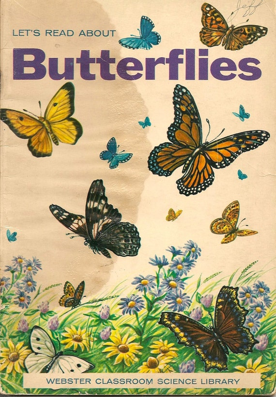VINTAGE KIDS BOOK Let's Read About Butterflies Webster Classroom Science Library
