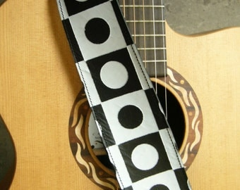 Mod Black and White Dot and Check Leather Guitar or Bass Strap