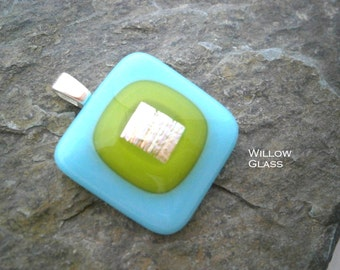 Fused Glass Pendant in Turquoise and Lime with Raindow Dichroic, Glass Pendant, Glass Jewelry, Willow Glass, SRAJD