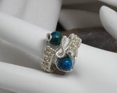 Silver tone Wire Wrapped Gemstone Bead Ring