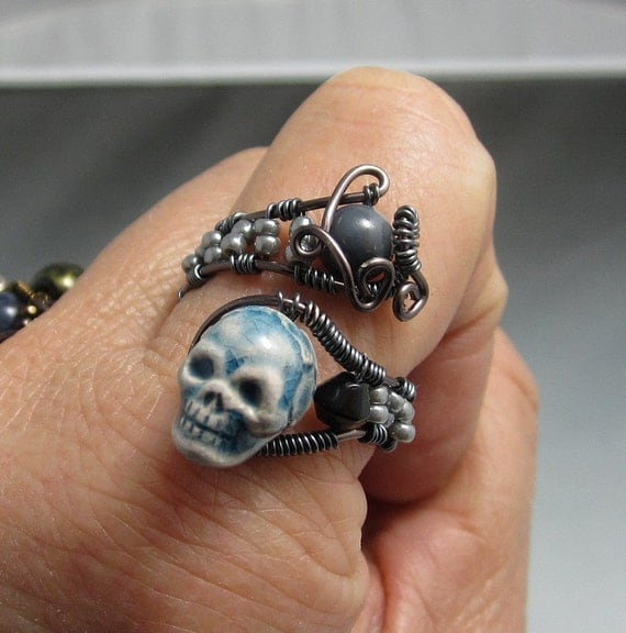 Handmade Wire Wrap Skull Ring Copper Wire Wrap Skull Bead