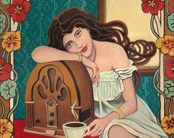 Morning Ritual 5x7 Greeting Card Fine Art Print Retro Art Nouveau Radio and Coffee Pagan Mythology Goddess Art