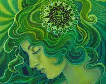 Green Goddess Gaia 20x24 Poster Fine Art Print Pagan Mythology Art Nouveau Emerald Psychedelic Gypsy Gaia Goddess Art