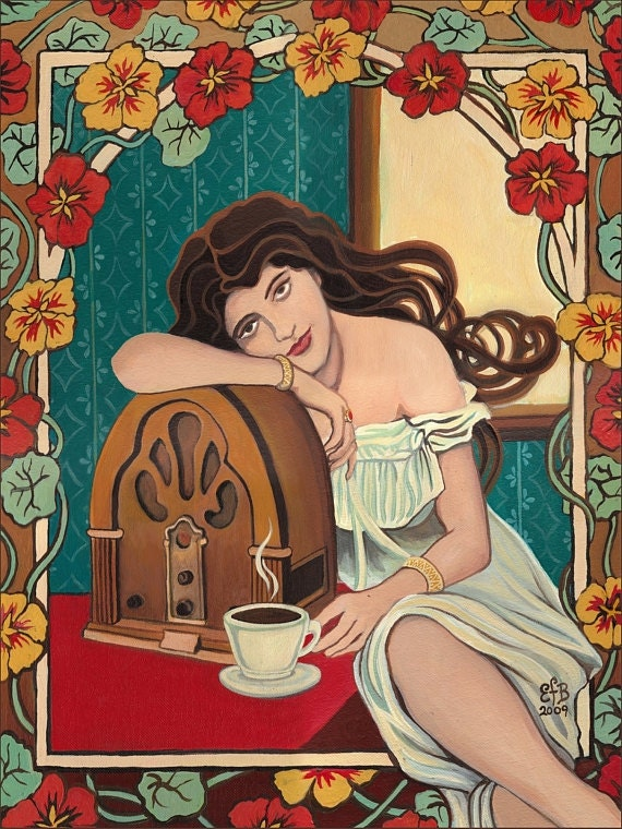 Morning Ritual Art Nouveau Radio and Coffee Goddess 5x7 Card Retro Goddess Art