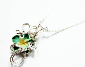 Made to Order - Design 14 - Aromatherapy Wire Wrapped  Polymer Clay Tropical Flower Bead PERFUME Pendant