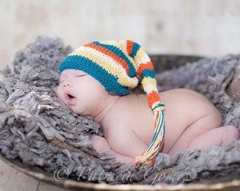 Sweet Baby Hat - Jumping Bean - Newborn to Six Months - elf hat, baby gift, newborn photography prop, baby shower, stocking cap, knit hat