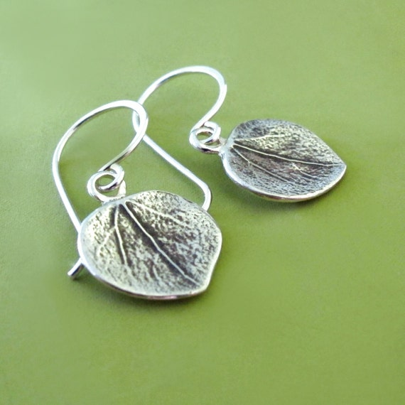 Aspen Leaf Earrings in Sterling Silver - Last Minute Gift