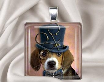 Steampunk Beagle - Dog Pendant - Square Glass Tile Pendant Necklace