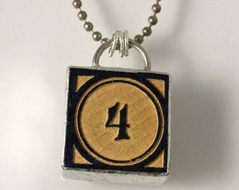 Number 4 Pendant Necklace