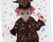Happy Graduation  Card, Are you proud of your Opossum graduate -  Possum Greeting Card Print from my original watercolor