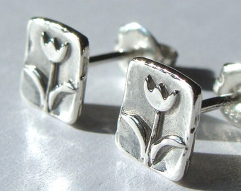 Small Square Tulip Flower Post Sterling Silver Earrings Stud Earrings Tulip Studs