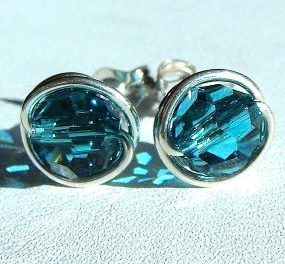 Blue Zircon Crystal Studs 6mm or 4mm Blue Zircon Swarovski Crystal Earrings Stud Earrings in Sterling Silver Post Earrings Studs