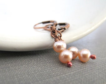 Pearl Earrings, Pink Mauve Pearls, Copper Earrings, Pink Pearl Duo, Dangle Earrings, Copper, Pearl Jewelry, Copper Jewelry